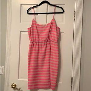 Pink and cream striped J. Crew dress